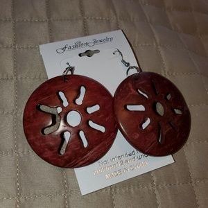Coconut shell earrings with hook back. NWT